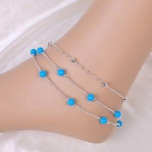 Jewelry - Boho Blue Beaded Layered Ankle Bracelet Anklet